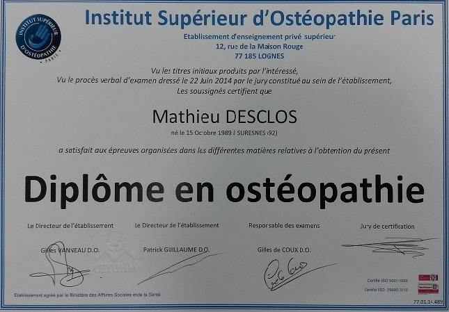 Diplôme en Ostéopathie